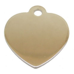 aluminum tag shaped like a heart with year and a unique ID number