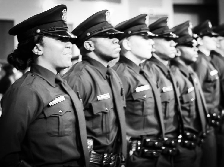row of officers