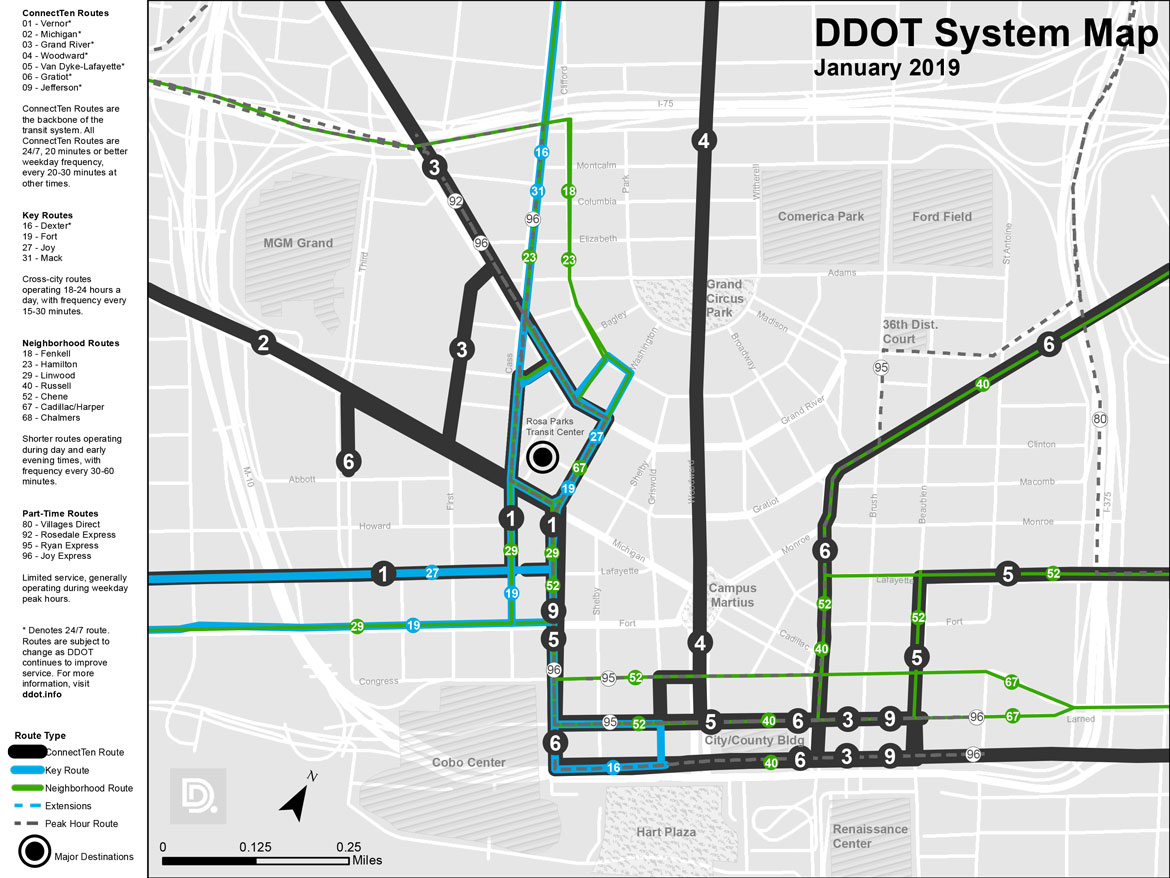 DDOT Downtown System Map