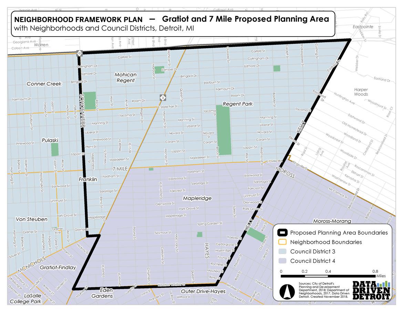 Gratiot / 7 Mile Framework Plan   City of Detroit on map of westside detroit, map of highland park, map of hamtramck, map of midtown detroit, map of metro detroit, map of traverse city, map of palmer lake, map of grand rapids, map of saginaw, map of lansing, map of downtown detroit, map of city of detroit,