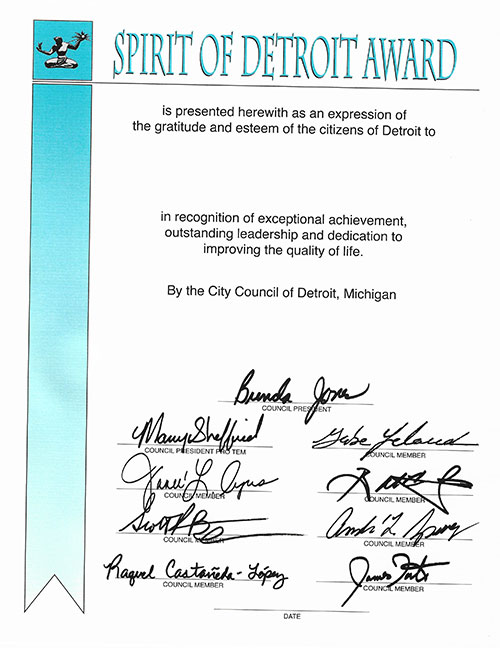 Spirit of Detroit Award