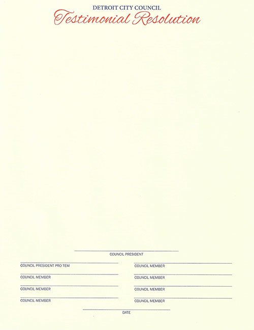 Testimonal Resolution
