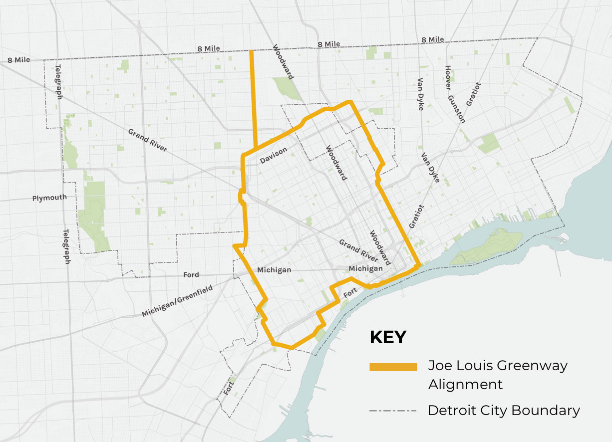 Joe Louis Greenway map