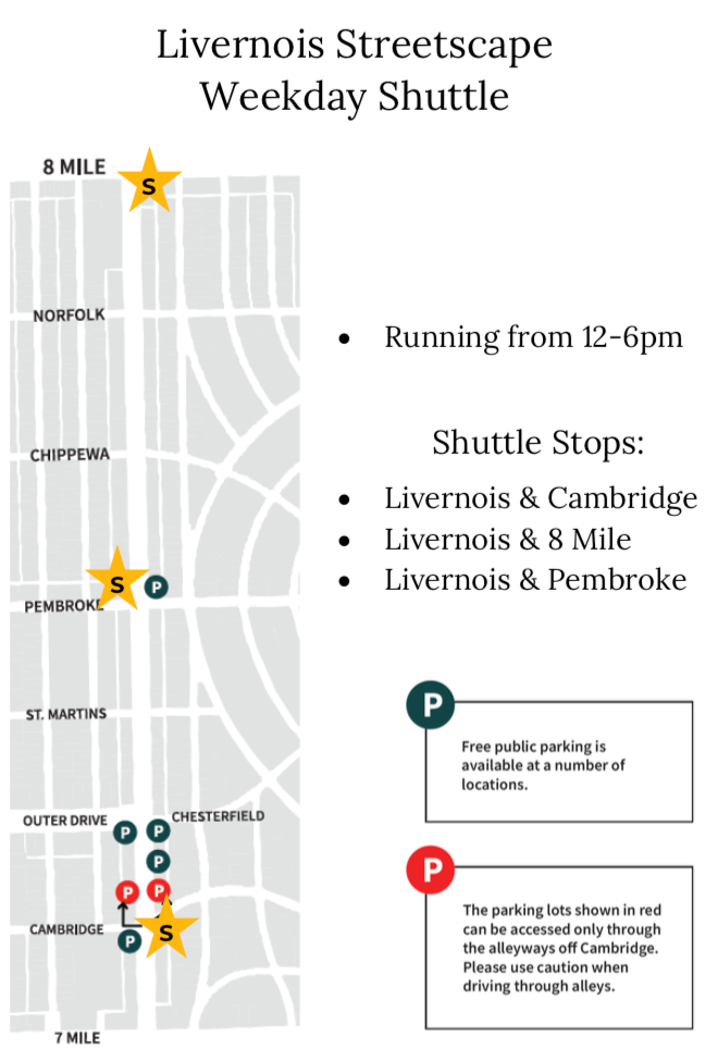 Livernois Streetscape Shuttle Map (weekday)