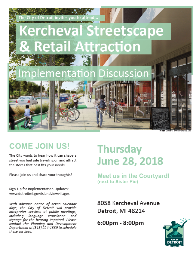 Kercheval Streetscape Project Community Meeting June 28th Flyer