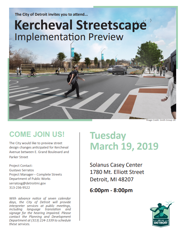 Kercheval Streetscape Project Community Meeting Flyer March 19 2020