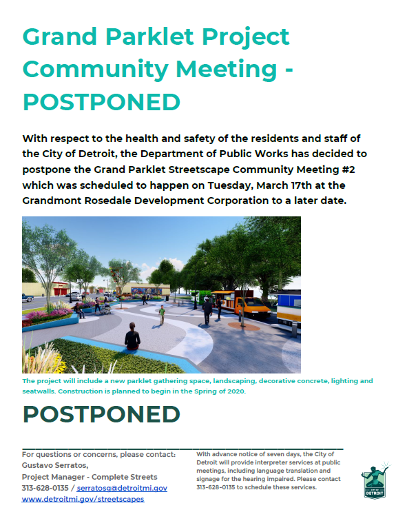 Grand Parklet Project Community Meeting #2 Flyer Postponed
