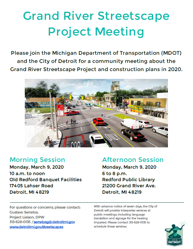 Grand River Streetscape Community Meeting March 9th