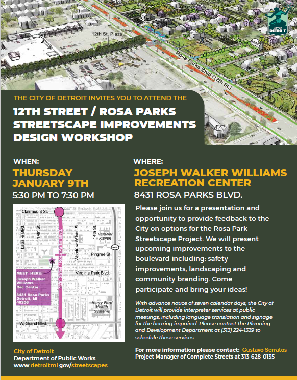 Rosa Parks Streetscape Project Community Meeting Jan 9th Flyer