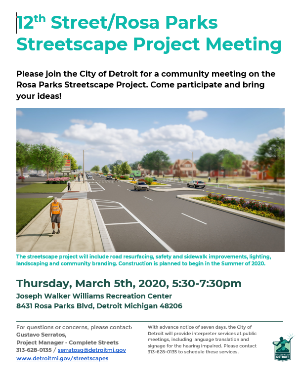 Rosa Parks Streetscape Project Community Meeting March 5th