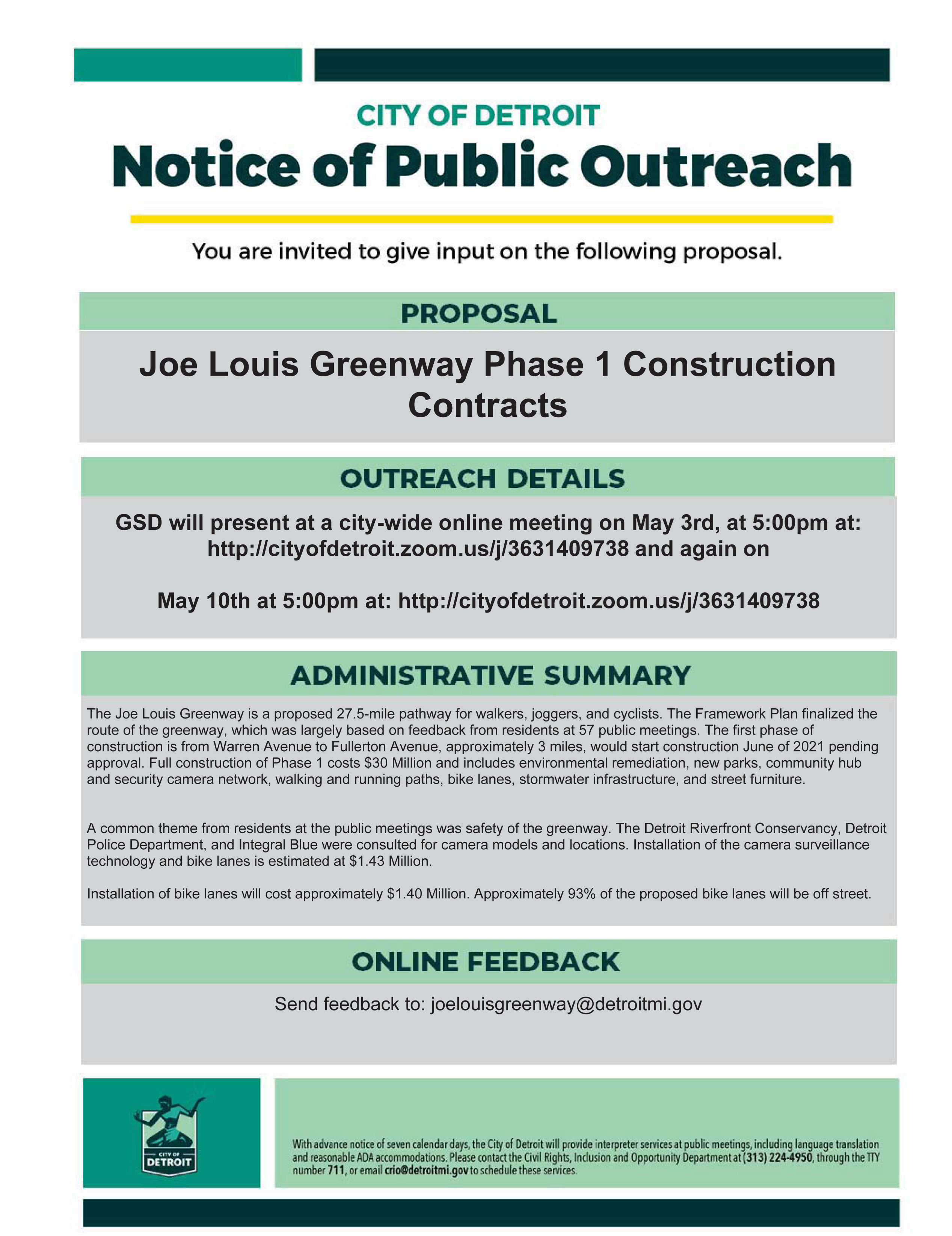 Notice of Public Outreach: Joe Louis Greenway Phase 1 Construction Contracts