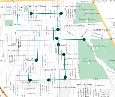 Livernois streetscape Saturday shuttle map